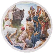 Christ Preaching From The Boat Round Beach Towel