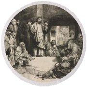 Christ Preaching (la Petite Tombe) Round Beach Towel
