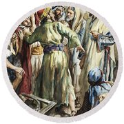 Christ Removing The Money Lenders From The Temple Round Beach Towel