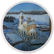 Christ Risen Church In Ples, Ivanovo Region Round Beach Towel