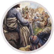 Christ Teaching Round Beach Towel by English School