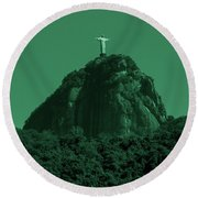 Christ The Redeemer In Green Sky Round Beach Towel