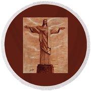 Christ The Redeemer Statue Original Coffee Painting Round Beach Towel