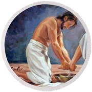 Christ The Servant Round Beach Towel