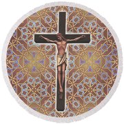 Christ Variations #1 Round Beach Towel