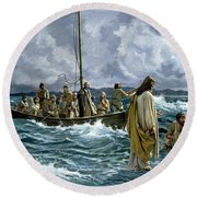 Christ Walking On The Sea Of Galilee Round Beach Towel