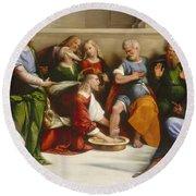 Christ Washing The Disciples' Feet Round Beach Towel