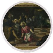 Christ Washing The Feet Of The Disciples Round Beach Towel