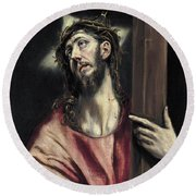 Christ With The Cross Round Beach Towel