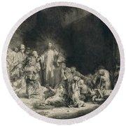 Christ With The Sick Around Him, Receiving Little Children Round Beach Towel