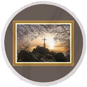Christellerata L A S With Decorative Ornate Printed Frame. Round Beach Towel