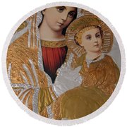 Christianity - Mary And Jesus Round Beach Towel