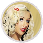 Christina Aguilera Round Beach Towel