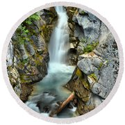 Christine Falls In The Canyon Round Beach Towel