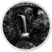 Christine Falls - Mount Rainer National Park - Bw Round Beach Towel