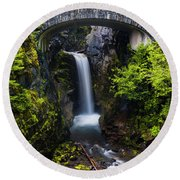 Christine Falls - Mount Rainer National Park Round Beach Towel
