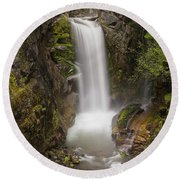 Christine Falls Mt Rainier Washington Round Beach Towel