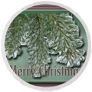 Christmas Arborvitae In Ice Round Beach Towel