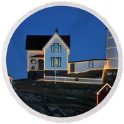 Christmas At The Nubble  Round Beach Towel