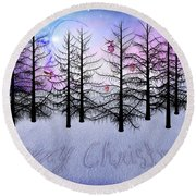 Christmas Bare Trees Round Beach Towel