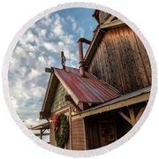 Christmas Barn On The Lake Round Beach Towel