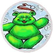 Christmas Bear Round Beach Towel