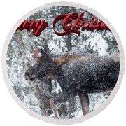 Christmas Bull Moose Round Beach Towel