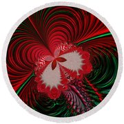 Christmas Butterfly Fractal 63 Round Beach Towel