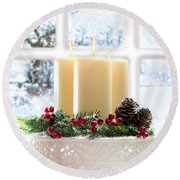 Christmas Candles Display Round Beach Towel