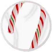 Christmas Candy Cane Round Beach Towel
