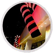 Christmas Candy Canes Round Beach Towel