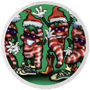 Christmas Candy Peppers Gang Round Beach Towel