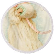 Christmas Card Depicting A Girl With A Muff Round Beach Towel