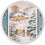 Christmas Cottage Round Beach Towel
