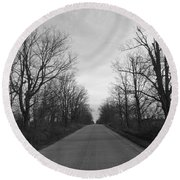 Christmas Day Country Road Round Beach Towel