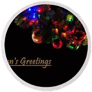 Christmas Decoration Greeting  Round Beach Towel