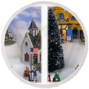 Christmas Display - Gently Cross Your Eyes And Focus On The Middle Image Round Beach Towel