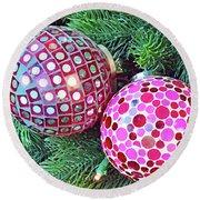 Christmas Dots No. 1-1 Round Beach Towel
