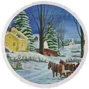Christmas Eve In The Country Round Beach Towel