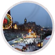 Christmas Fair Edinburgh Scotland Round Beach Towel