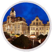 Christmas Fair In Front Of Town Hall Round Beach Towel