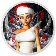 Christmas Fairy Round Beach Towel
