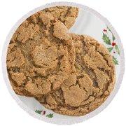 Christmas Gingerbread Cookies Round Beach Towel