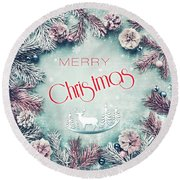 Christmas Greeting Card, By Imagineisle Round Beach Towel