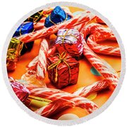 Christmas Holiday Background Round Beach Towel