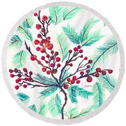 Christmas Holly Round Beach Towel