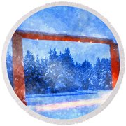 Christmas In The Mountains Round Beach Towel