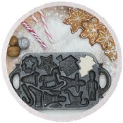 Christmas Interior With Sweets And Vintage Kitchen Tools Round Beach Towel