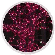 Christmas Lights 6th Ave 4 Abstract Round Beach Towel