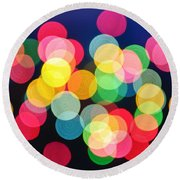 Christmas Lights Abstract Round Beach Towel by Elena Elisseeva